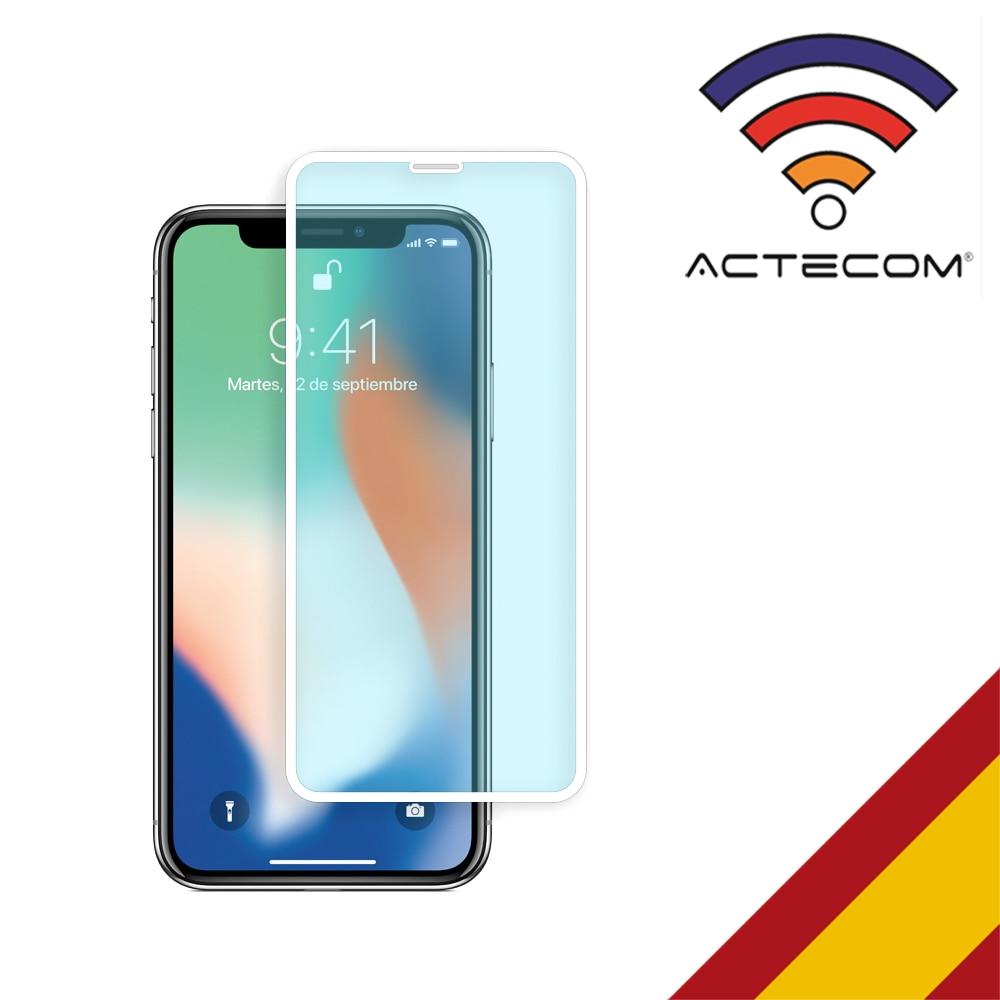 ACTECOM Protector Pantalla Completa para iPhone 11 3D 5D Blanco Cristal vidrio Templado Glass Premium iPhone 11 5D Blanco