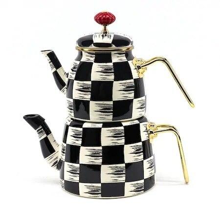 داما منقوشة متوسطة بالمينا إبريق الشاي الفولاذ المقاوم للصدأ 2.4 lt-1.2 lt شحن SHİPPİNG