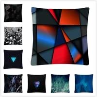 geometric squarecubic pattern soft short plush cushion cover pillow case for home sofa car decor pillowcase 45x45cm