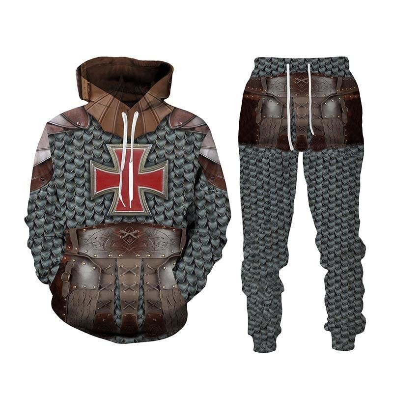 الرجال الربيع والخريف شخصية الموضة فارس ثلاثية الأبعاد المطبوعة سترة و بنطلون قطعتين بدلة رياضية