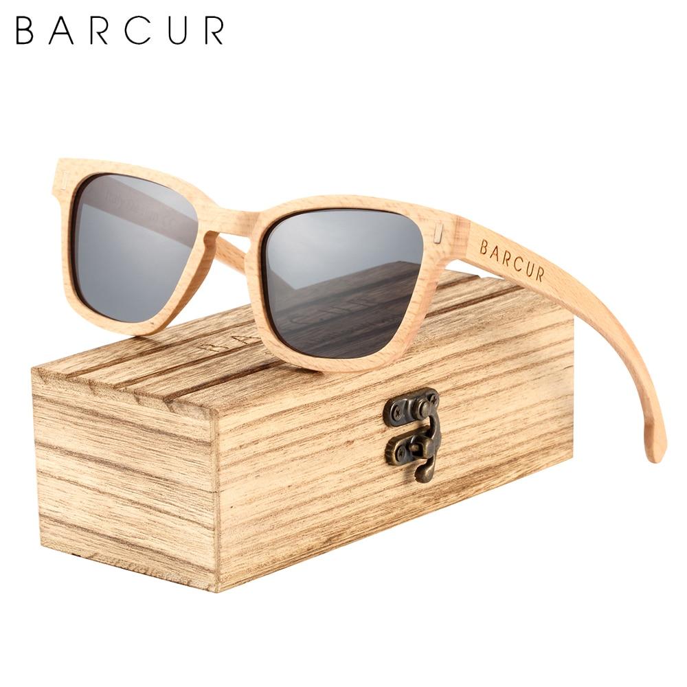 BARCUR الرجعية يدوية الخشب الرجال النظارات الشمسية الطيار موضة النساء خشبية نظارات شمسية مستقطبة UV400 حماية