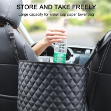 New Car Handbag Holder Luxury Leather Seat Back Organizer Mesh Large Capacity Bag Automotive Goods S
