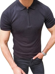 Men's Polo Shirt Fashion Summer Short Sleeve High Quality Slim Top Knit T-shirt Casual Solid Color Clothing