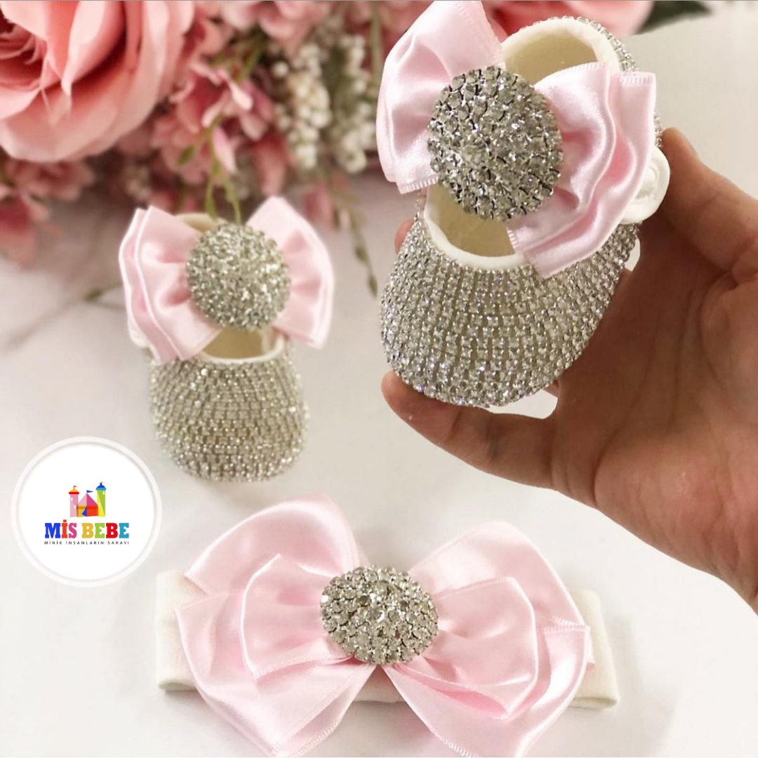 Baby Girl Queen Shoes and Headband with Swarovski Stones Fashion Quality Cotton Soft Crib Shoes Furry