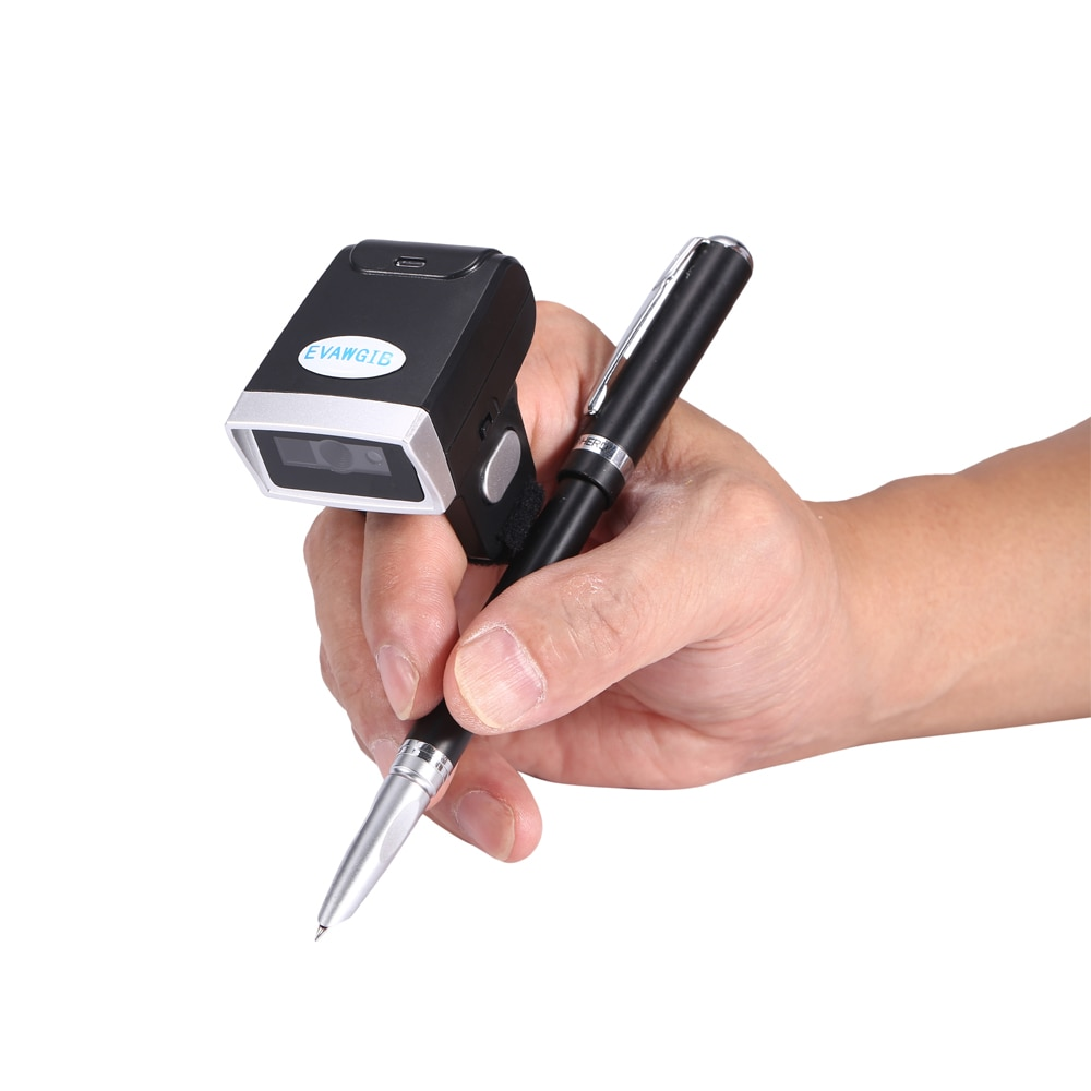 Escáner de código de barras de dedo inalámbrico 1D/2D con Bluetooth, lector de código de barras con memoria, tamaño mini, tipo de anillo de escáner de código QR