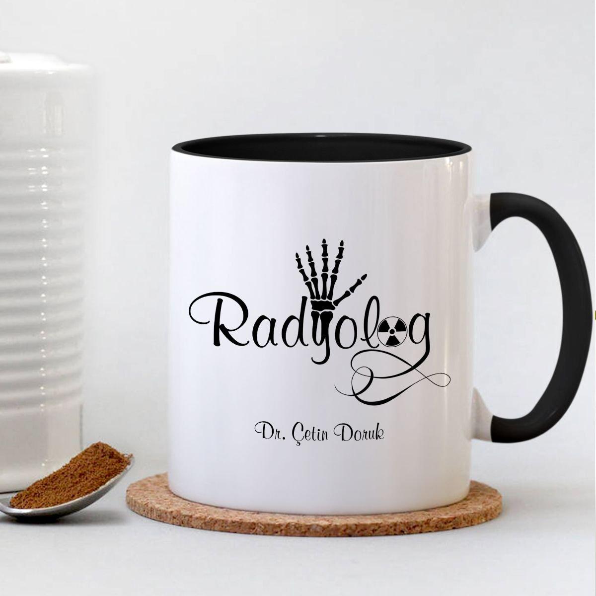 Copo preto personalizado da caneca do radiologista profissional
