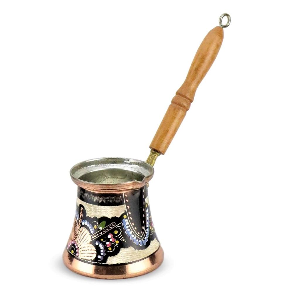 Turkish Copper Coffee Pot Maker Hammered Turka Jazzva Briki Espresso Pot Traditional Design 3 Sizes Engraved Wood Handle Inlays