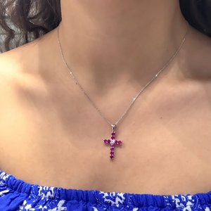 Ruby red Gold Model Silver Crucifix Cross Necklace
