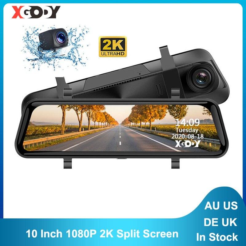 Xgody 10 Polegada câmera do carro dvr lente dupla completa hd 1080p traço cam 2k gravador de vídeo dashcam com espelho retrovisor registratório