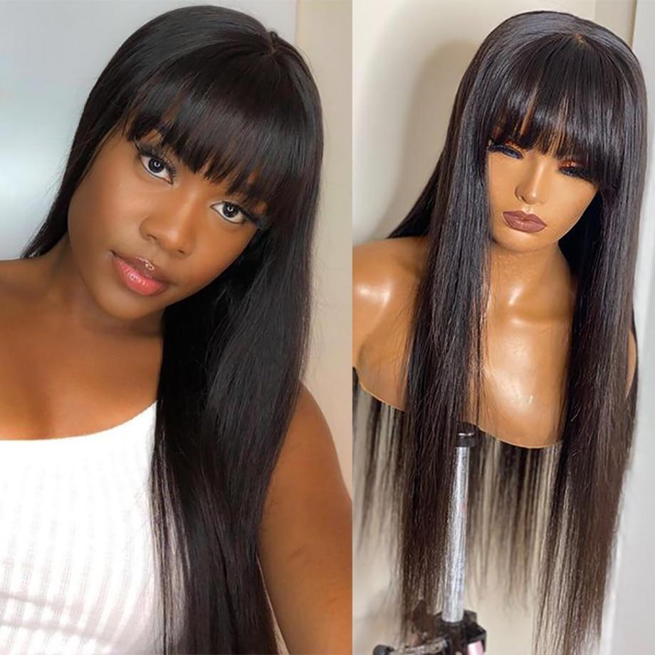 شعر مستعار برازيلي طبيعي 100% مع هامش ، شعر ناعم ، 28 30 بوصة ، شعر بشري ، رخيص ، طويل ، للنساء