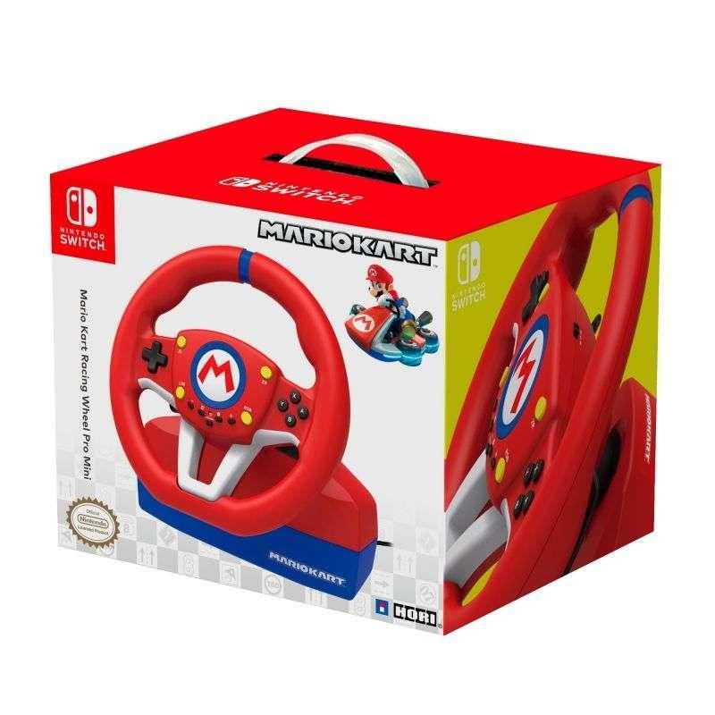 Volante de carreras con pedales hori mario kart racing wheel pro mini para nintendo switch - licencia oficial nintendo