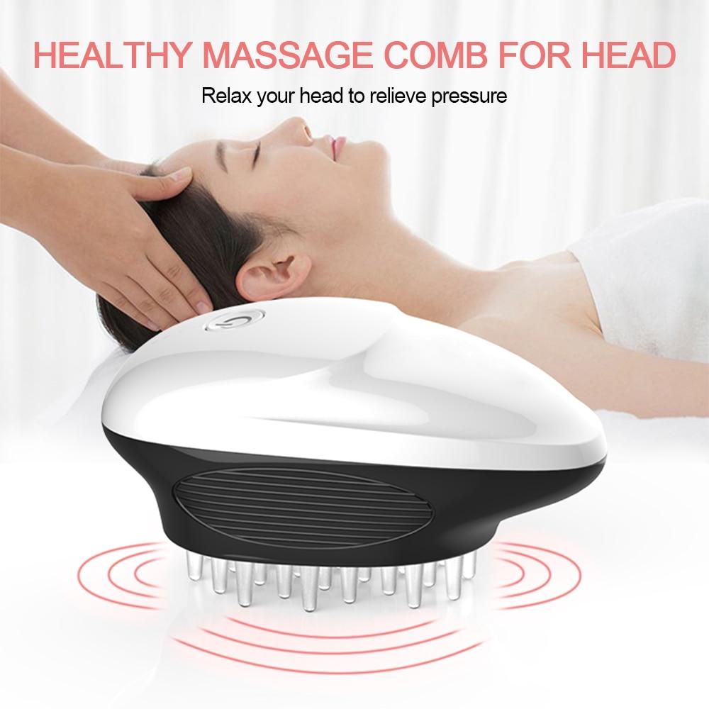 Massagem elétrica do couro cabeludo pente vibração 8000 vezes por minuto cabeça estimular massageador alívio fadiga 2 modos dispositivo de massagem