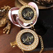 MIYOCAR personalized any name photo custom gold bling pacifier and pacifier clip black BPA free dummy baby shower P8-B new