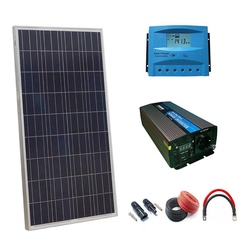Kit solaire 12v 150w heure onduleur 1000w