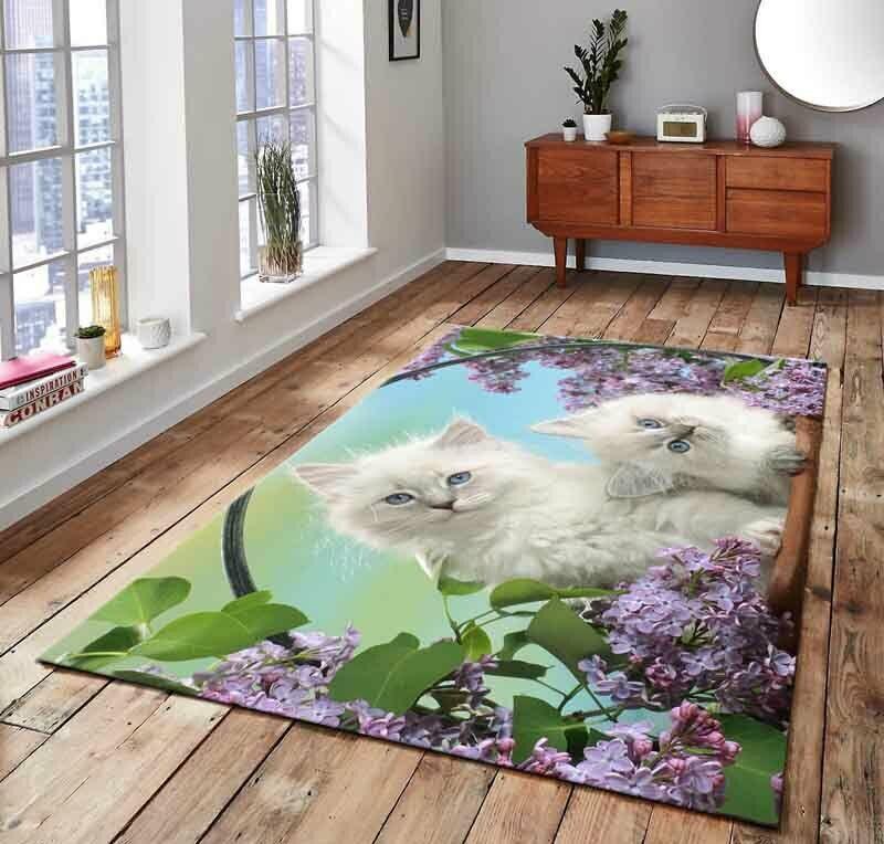 قطة بيضاء 3 منقوشة ، سجادة أرضية غير قابلة للانزلاق ، سجادة للمراهقين ، سجادة تركية