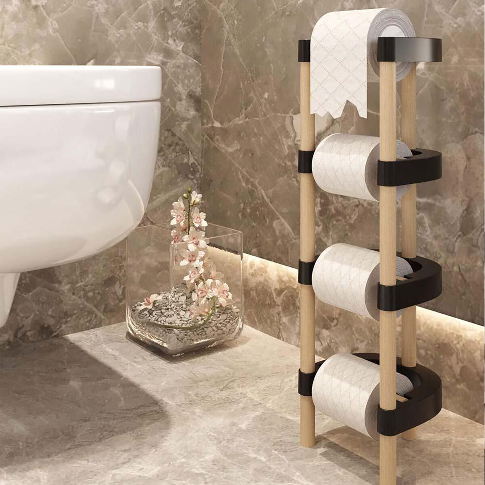 خشبية المدعومة 4 شماعات حامل ورق المرحاض دون المسمار