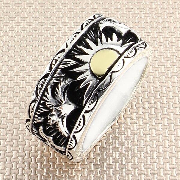 Bird Sun-خاتم من الفضة الإسترليني عيار 925 للرجال ، خاتم دوار ، مصنوع في تركيا