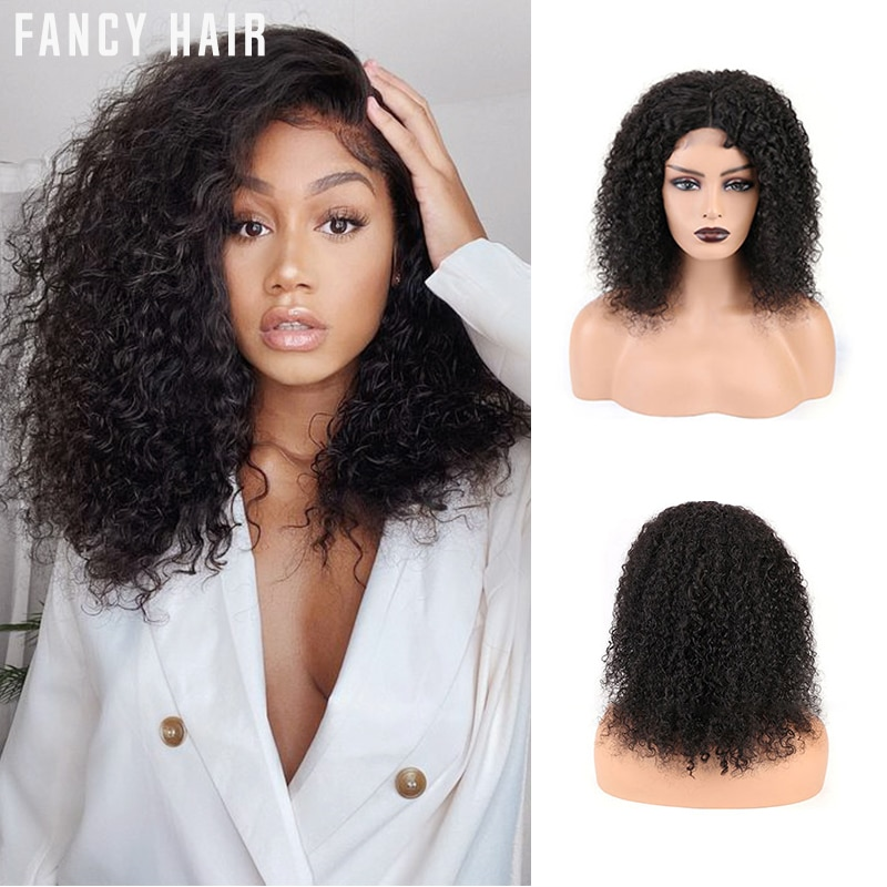 Afro Kinky Curly Human Hair Wig 4x4 Lace Closure Wig 250% Density Remy Brazilian Hair Short Deep Curly Lace Front Wig for Women