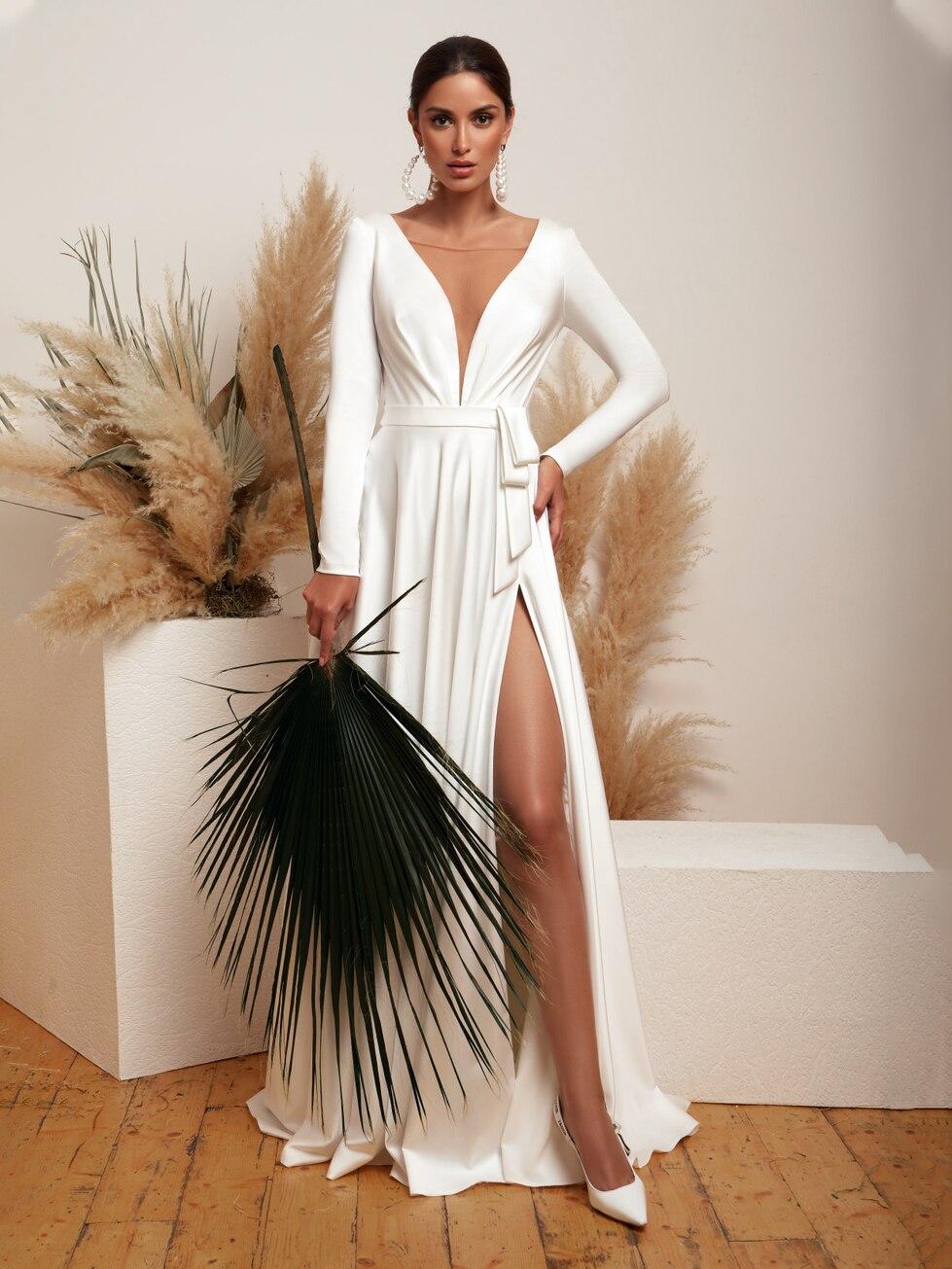 deep-v-neck-satin-wedding-dress-vintage-high-slit-long-sleeves-illuison-back-special-occasion-custom-made-elegant-bridal-gown