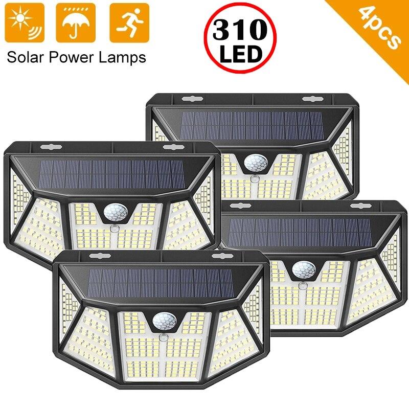 100 310 Led Solar Light Outdoor Solar Wall Lamp LED IP65 PIR Motion Sensor Lampara Solar Lighting Garden Decoration