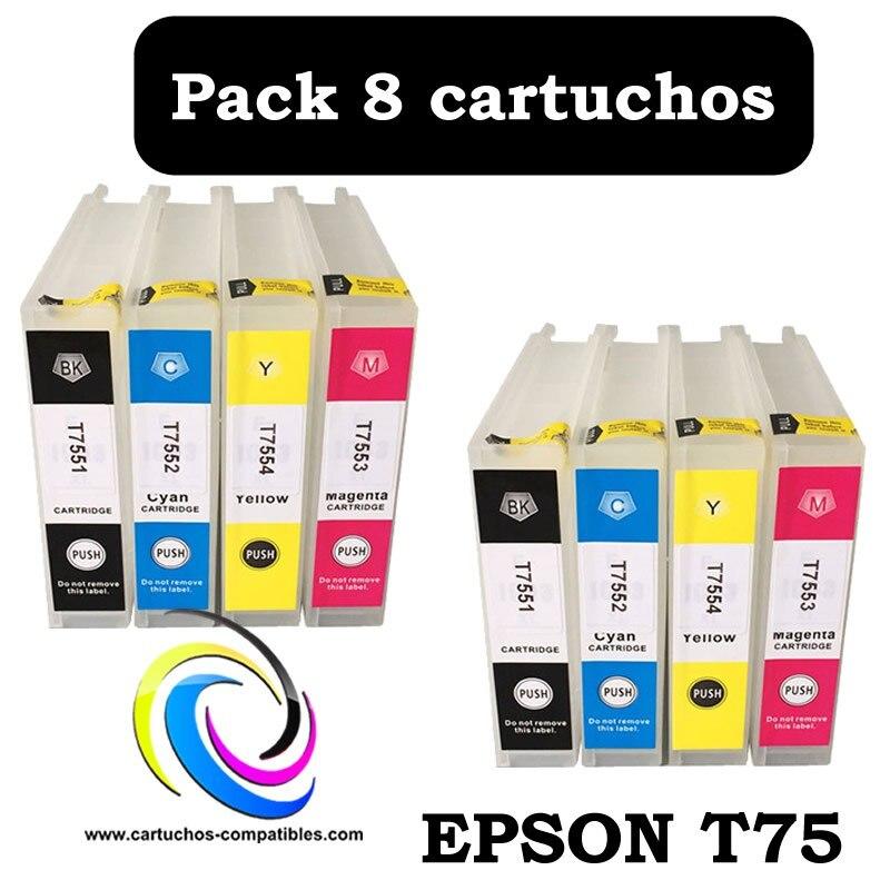 Compatível Epson T75 Pack 8 ou unidades WF8010 WF8090 WF8510 WF8590 WF-8010 WF-8090 WF-8510 WF-8590 T7561 T7562 T7563 T7564
