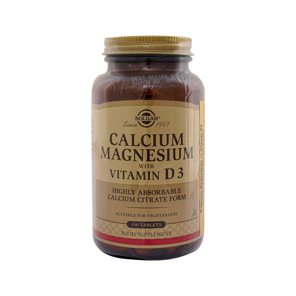 Solgar Calcium Magnesium Vitamin D3 150 Tablets calcium magnesium with vitamin d complex gluten free 360 vegan capsules