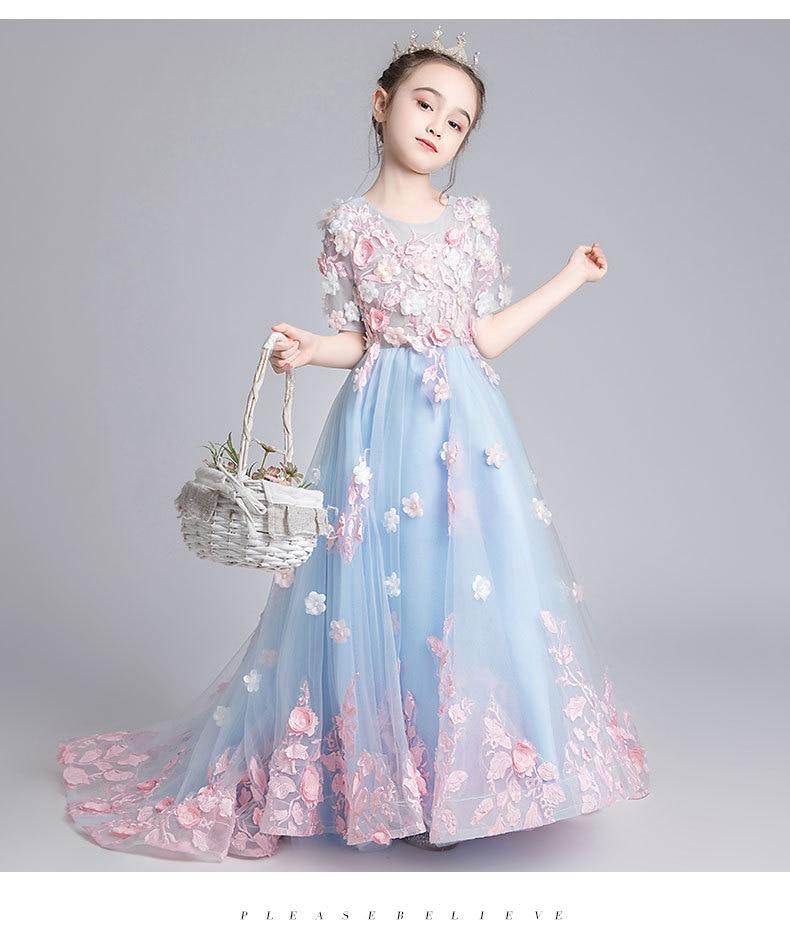 CloverBridal 2021 زهرة زين الطفل 3-baby 11 الفتيات فستان مع قطار س الرقبة مطرز الزهور طويلة زهرة فتاة فساتين