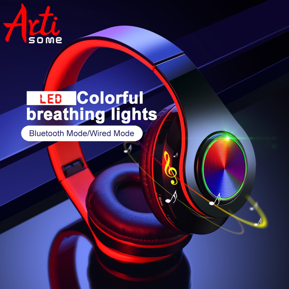 B39 LED Colorful Breathing Lights Portable Folding Built-in FM Wireless Bluetooth Headphones With MIC Support TF Card Mp3 Player