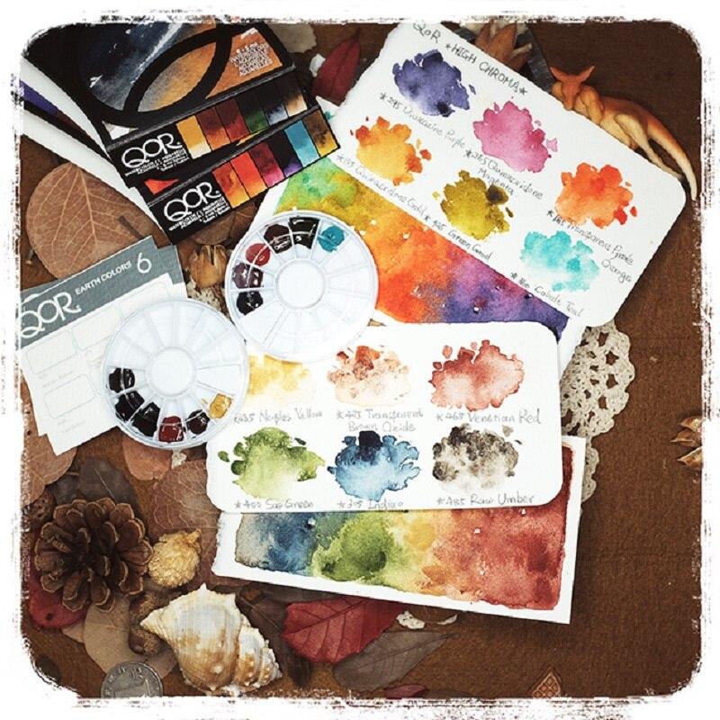 QOR watercolor EARTH COLOR HIGH CHROMA Dot Pans Sub Package Aquarela Set Art Supplies