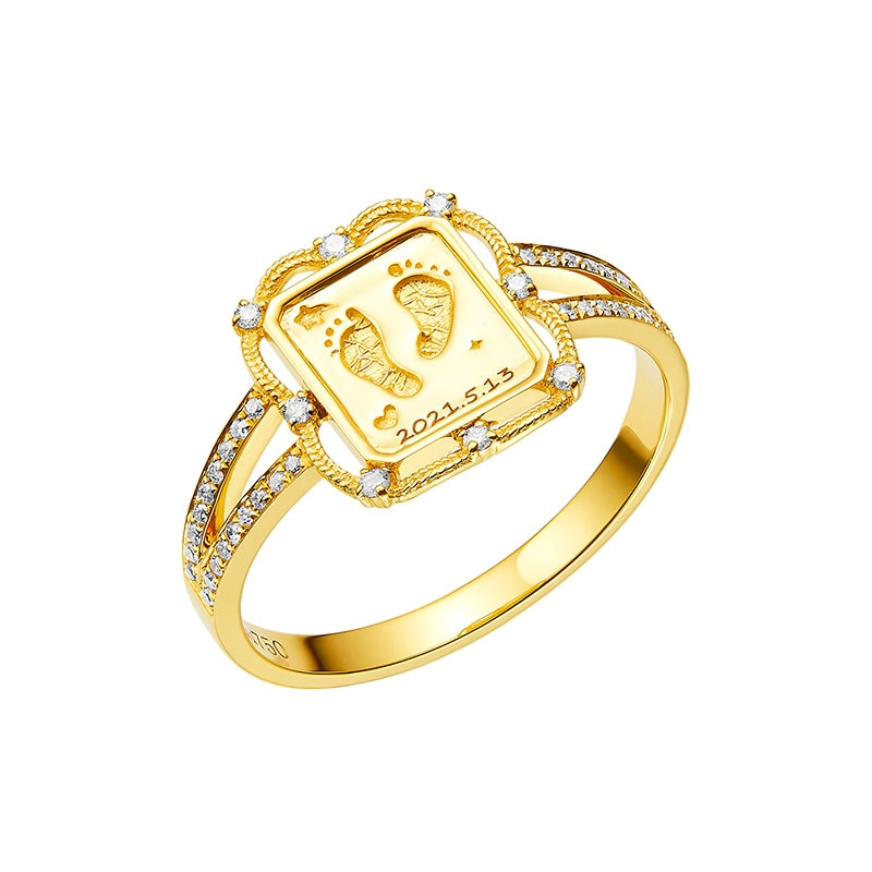 18K Gold Baby Custom Made Wreath Handprints Footprint Diamond Necklace