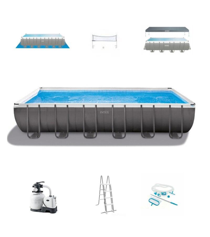 Piscina de andamios rectangular, serie Ultra, 732, 32, 13 cm, escalera, cubierta, toldo, kit de limpieza