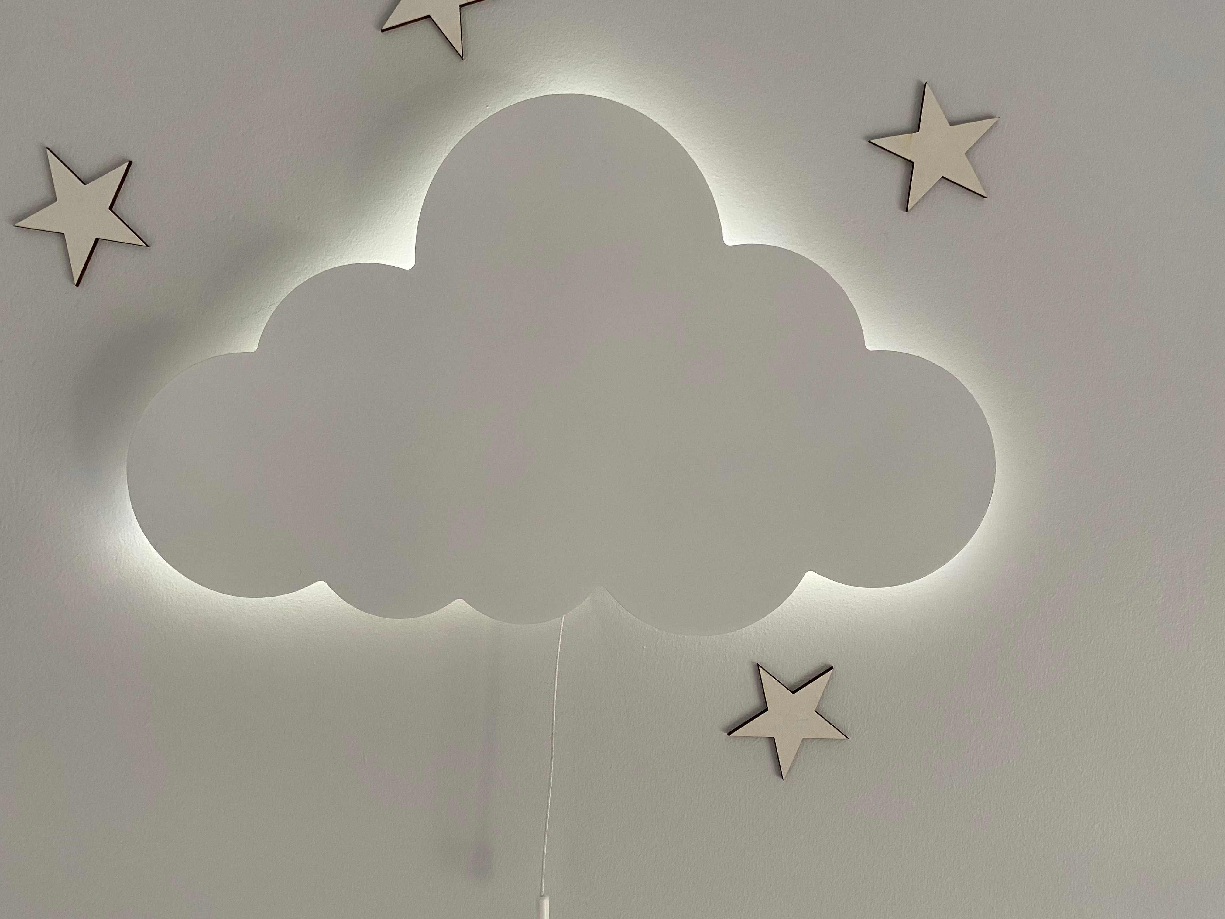 Set of 2- Nursery Wall Lamp, Cloud Lamp, Children Bedroom Decor, Wooden Led Light, Baby Night Lamp, My Childs Room Decor enlarge