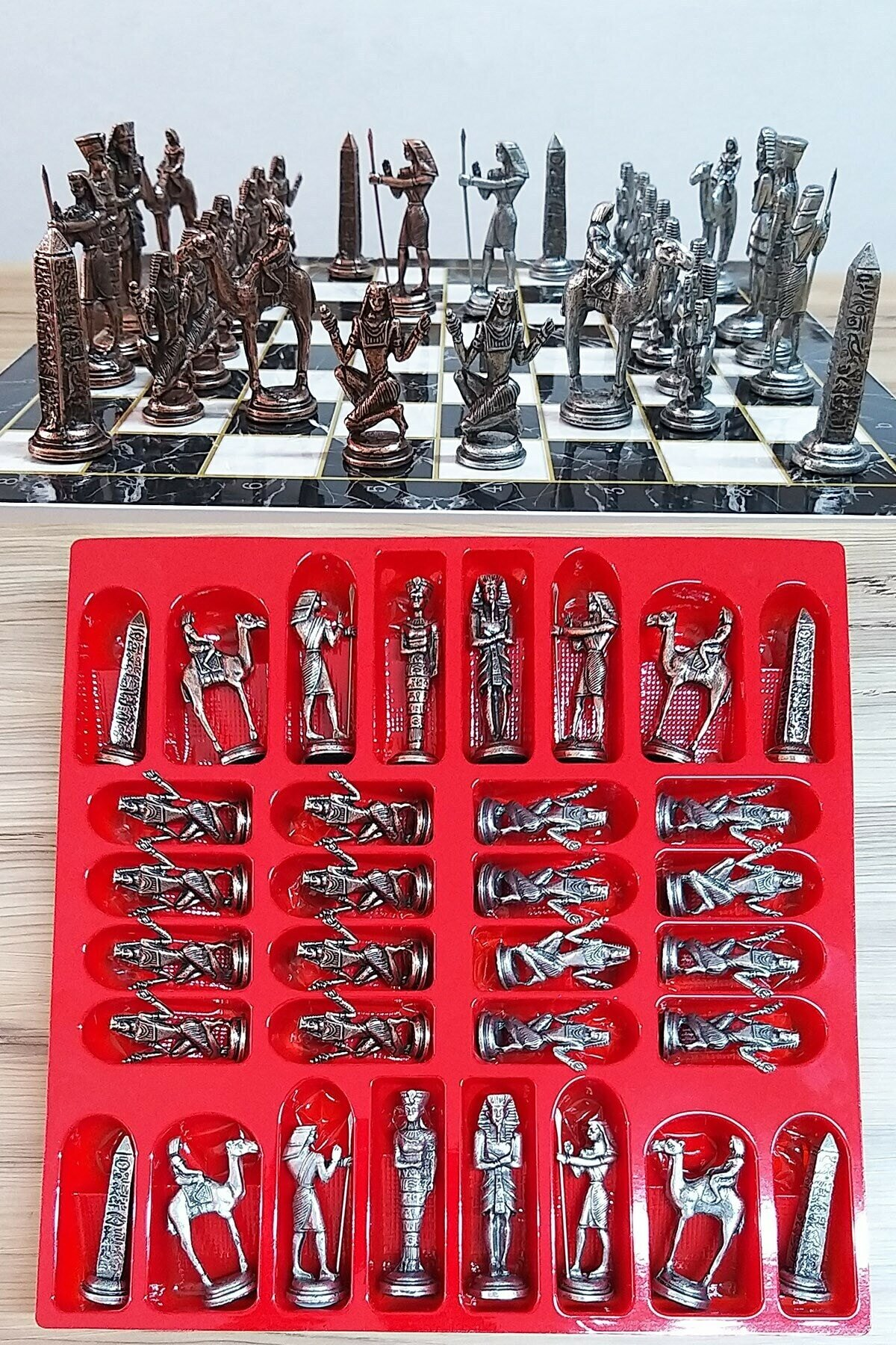 Toy Net Chrome Copper Chess Set With Egyptian Pharaoh Armies Soldier Figure 33x33 Cm Plated Marble Table Toy Net Chrome Copper C