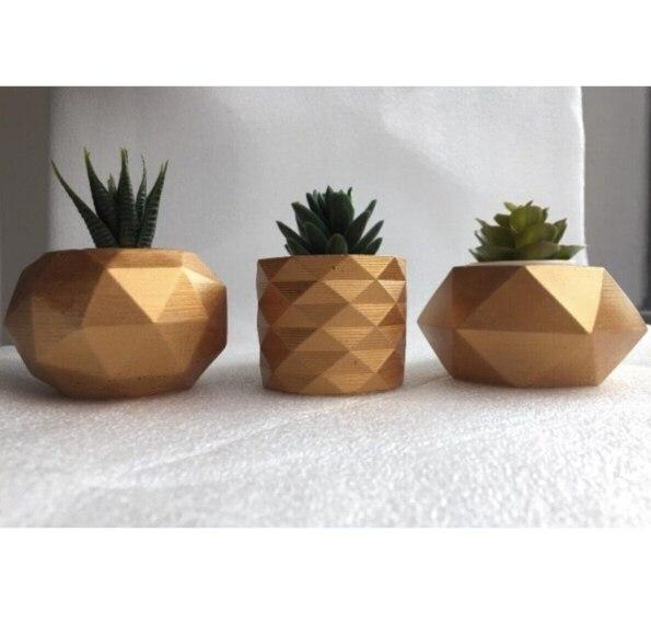لون ذهبي هندسي إصيص أزهار خرساني 3 قطع