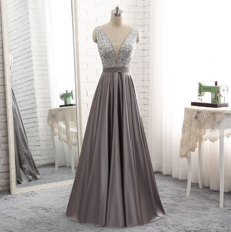 9634 Sleeveless V-Neck Floor Length Backless Bridesmaid Dress Evening Dress for Ladies' Party Dress