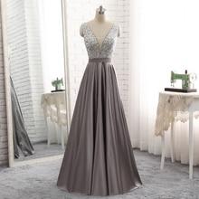 9634 Sleeveless V-Neck Floor Length Backless Bridesmaid Dress Evening Dress for Ladies' Party Dress