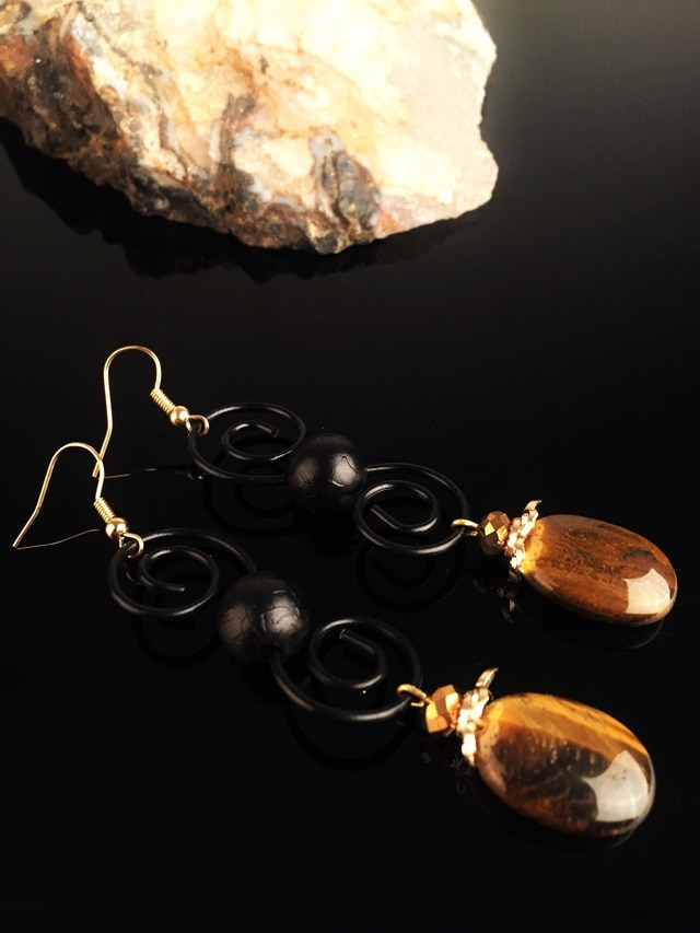 Dr Stone-أقراط عين النمر للنساء ، حجر طبيعي ، XNRS660 ، 373144840