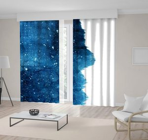 Curtain Night Sky with Glowing Stars Cosmic Theme Contemporary Decorative Watercolor Artwork Blue White