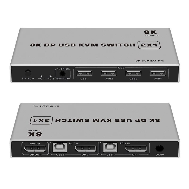 DP USB KVM Switch 2*1 4K 8K 60HZ DP KVM switch Displayport 2 in 1 out For two hosts to share monitor mouse keyboard printer