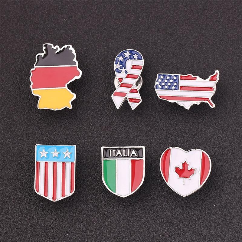 National FLag Pin Badge Italy Canada Germany America Ribbon Pennant Enamel Bbrooch Punk Jewelry Broche Femme Bijoux Graduation