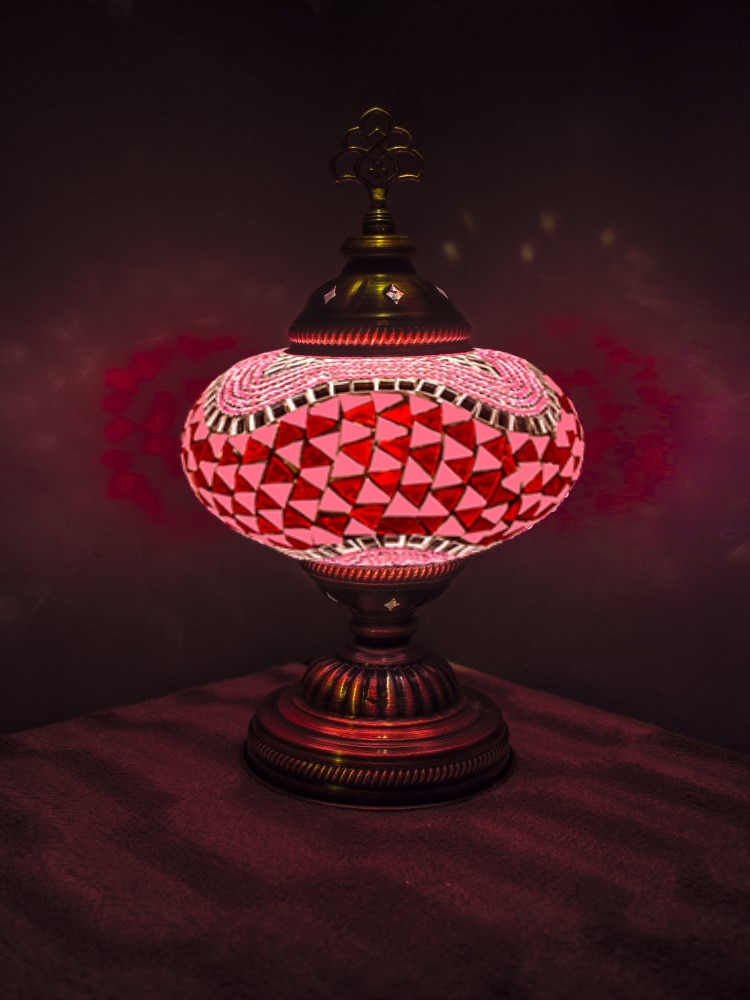 مصباح طاولة بجانب السرير ، زخرفة فنية عتيقة ، فسيفساء مغربية تركية مصنوعة يدويًا ، 9 ألوان