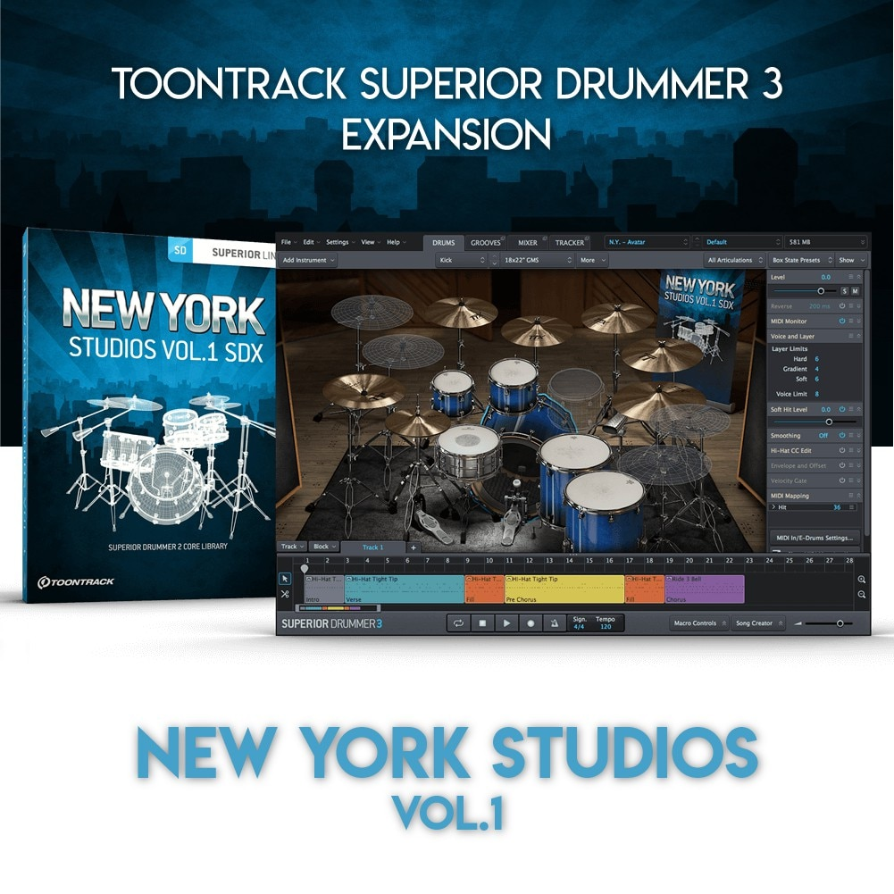 NEW YORK STUDIOS VOL.1 - TOONTRACK SUPERIOR DRUMMER 3 EXPANSION (WINDOWS 64BIT VSTi)
