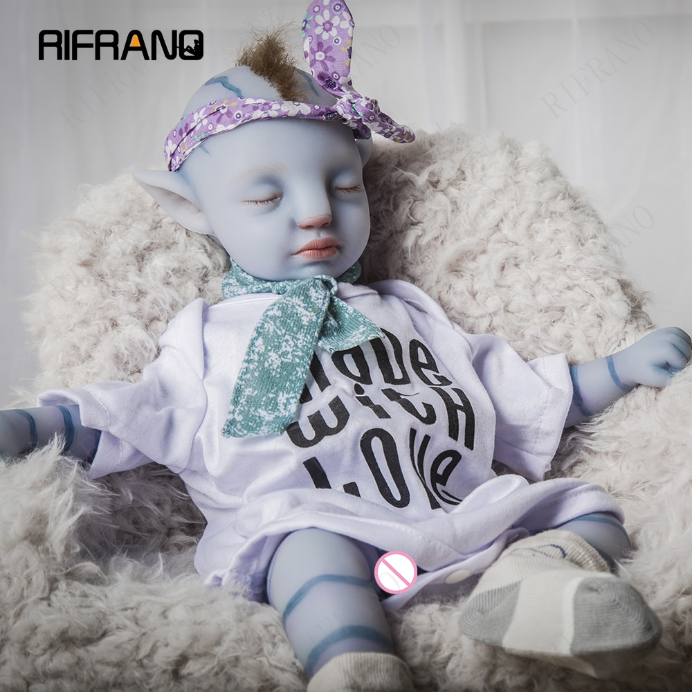 RIFRANO 45CM Bebe Doll Reborn Baby Dolls 100% Full Silicone Blue Baby Toys for Children Toys Toddler Full Body Girl Reborn Doll