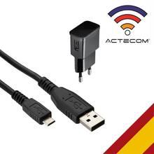 ACTECOM CARGADOR DE PARED 2A + CABLE MICRO USB PARA SAMSUNG SONY HUAWEI auriculares MEIZU Xiaomi