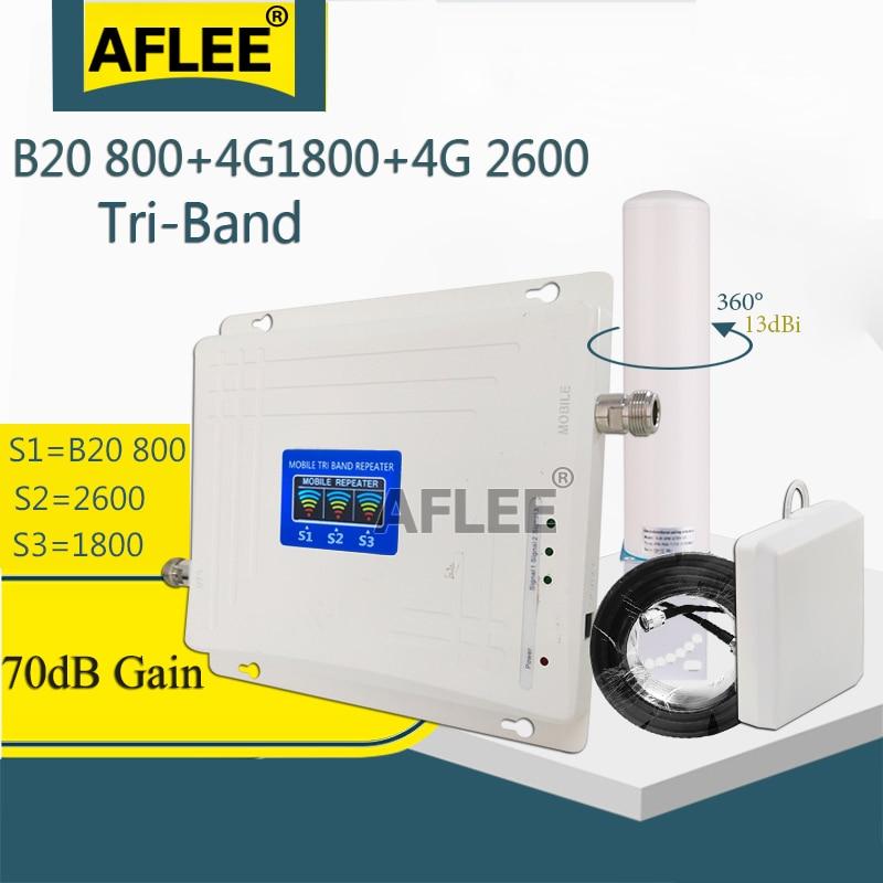 ¡2020 nuevo! LTE B20 800 1800 2600 amplificador celular de triple banda, repetidor GSM 2g4g, amplificador de señal móvil, LTE DCS LTE
