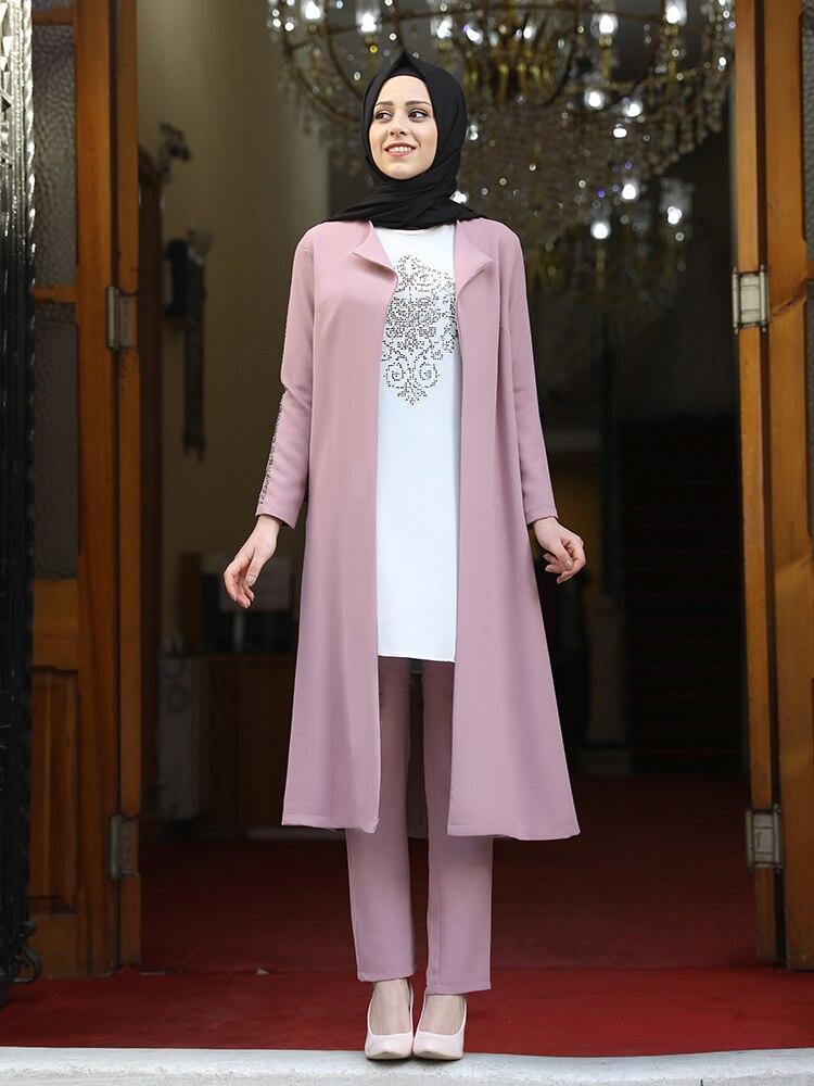 المرأة 3 قطعة بدلة سترة سترة بنطلون مزيج ملابس مسلمة الإسلامية أنيق حجم كبير مرنة عالية الجودة تركيا