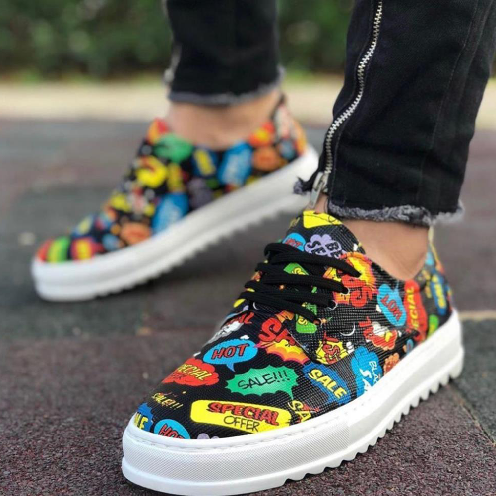 Knack Casual Men's Shoes Hot Model Color Black Lace-Up Colorful Patterned Artificial Leather Stitched High White Sole Street Style Male Sneakers Air Stylish Fashion Dazzling Orthopedic Flat Sole Comfortable T12