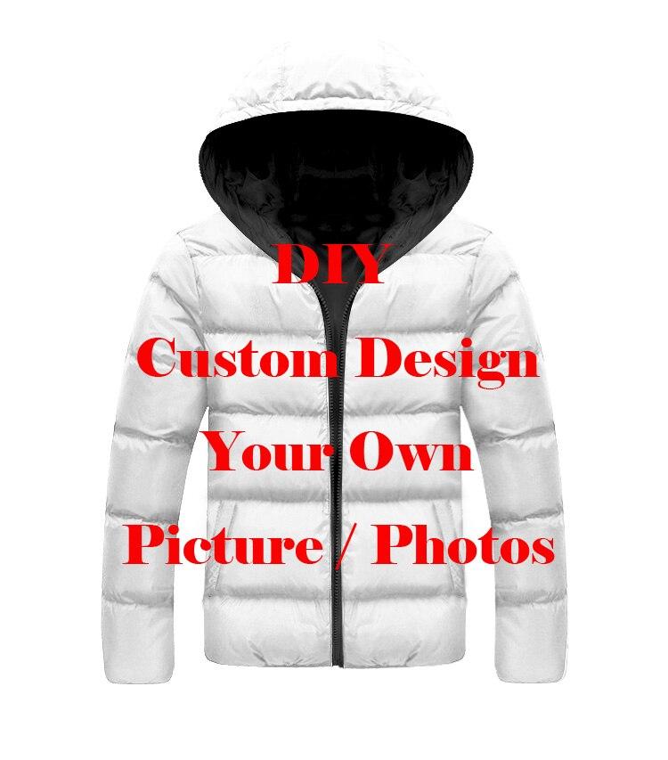 LIASOSO DropShip 3D Print Men Women Diy Custom Design Picture Photo Men's Jacket Plus Velvet Zipper Warm Down Child Filled Coat