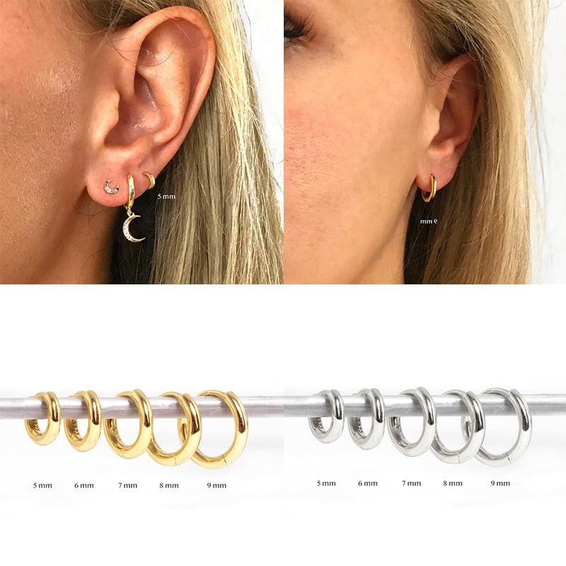 CANNER Minimalis Aros De Plata De Ley 925 Round Circle Earrings for Anniversary Engagement Hoop Earring Pendient Ear Bone Buckle
