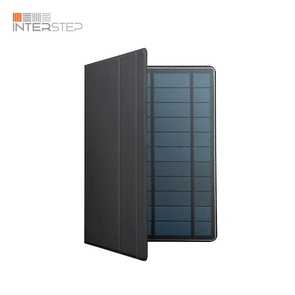 Banco de potência interstep 12sol typec com carregamento solar 12,000 mah, 2 usb, painel 6.5 w carregador solar, com pasta caso